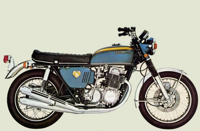 69 cb 750. smooth running inline 4, electric start, first disc